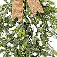 Green Glitter effect Mistletoe teardrop Decoration