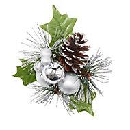 Silver Glitter effect Foliage Stem