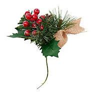 Green Metallic effect Berries & pine cone Pick