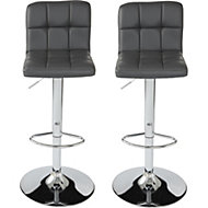 Lagan Contemporary Grey & Chrome effect Bar stool (H)1009mm (W)450mm, Pack of 2