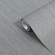 GoodHome Lery Dark grey Pleated Glitter effect Textured Wallpaper