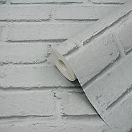 GoodHome Luynes Light grey Brick Textured Wallpaper