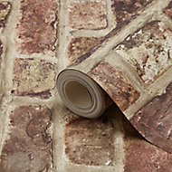 Tanlay Dark red Brick Smooth Wallpaper