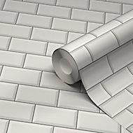 GoodHome Yvias White Metro Tile effect Textured Wallpaper