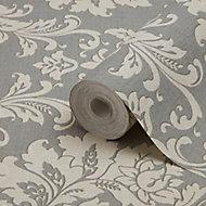 GoodHome Mire Grey Damask Textured Wallpaper