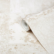 GoodHome Meral Beige Damask Smooth Wallpaper
