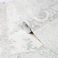 GoodHome Meral Grey Damask Smooth Wallpaper