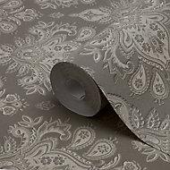 GoodHome Abeli Brown Russian damask Metallic effect Textured Wallpaper