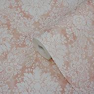 GoodHome Vay Pink Damask Textured Wallpaper
