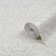 GoodHome Gavre White Damask Silver glitter effect Textured Wallpaper