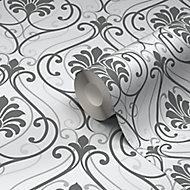 Blain Grey & white Damask Textured Wallpaper