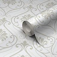 Blain Taupe & white Damask Textured Wallpaper