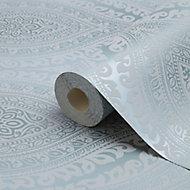 Celosi Blue Damask Metallic effect Textured Wallpaper