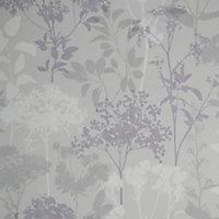 GoodHome Esseri Grey, purple & white Tree Smooth Wallpaper