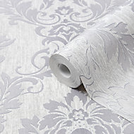 GoodHome Phacelia Grey Damask Textured Wallpaper