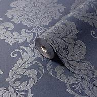 GoodHome Ornata Midnight blue Damask Textured Wallpaper
