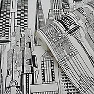 Yopo Black & white Cityscape Textured Wallpaper