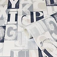 Edulis Grey Typography Smooth Wallpaper