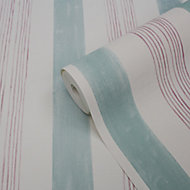 GoodHome Eulophia Green & pink Striped Textured Wallpaper