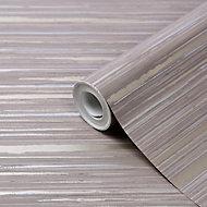 GoodHome Lucidum Grey Striped Metallic effect Smooth Wallpaper