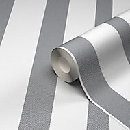 GoodHome Nypa Grey & white Striped Textured Wallpaper