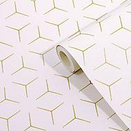Wandou White Geometric Metallic effect Smooth Wallpaper