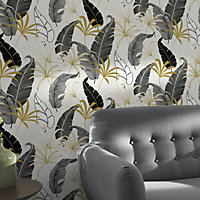 GoodHome Selago Black & white Leaf Gold effect Smooth Wallpaper