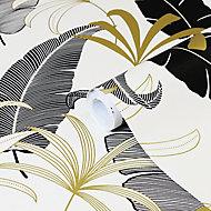 GoodHome Selago Black & white Leaf Gold effect Smooth Wallpaper