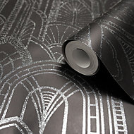 GoodHome Djinga Black Art Deco Glitter Effect Wallpaper