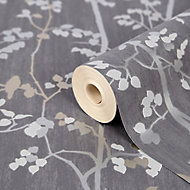GoodHome Bromus Charcoal Floral Metallic effect Textured Wallpaper