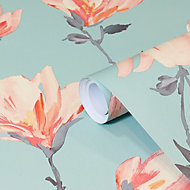 GoodHome Leuzea Blue Floral Smooth Wallpaper