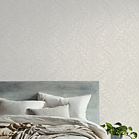GoodHome Dryade Grey Leaves Textured Wallpaper