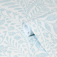GoodHome Dryade Blue Leaves Textured Wallpaper