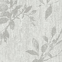 GoodHome Hirta Grey Floral Textured Wallpaper