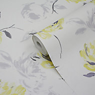 GoodHome Neoti Yellow Floral Textured Wallpaper