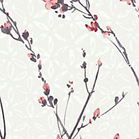 GoodHome Teff Pink Floral Textured Wallpaper