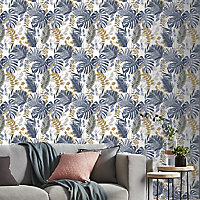 GoodHome Ferula Blue Tropical leaves Textured Wallpaper