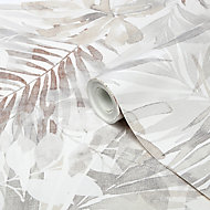 GoodHome Jarava Beige Leaves Textured Wallpaper