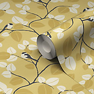 GoodHome Mahot Yellow Modern Textured Wallpaper