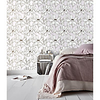 GoodHome Filago Lilac Floral Textured Wallpaper