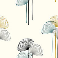 GoodHome Bahiana Teal & yellow Dandelion Smooth Wallpaper