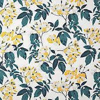 Ikok Teal & yellow Floral Smooth Wallpaper
