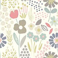 Tamus Cream, teal & yellow Floral Smooth Wallpaper