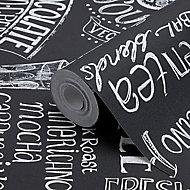GoodHome Hoodia Black & white Wording Textured Wallpaper