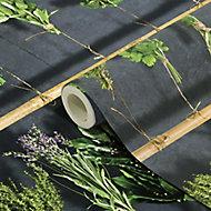 GoodHome Diasi Black & green Botanical Textured Wallpaper