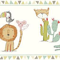 GoodHome Fraseri Multicolour Cartoon animal Smooth Border