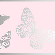 GoodHome Mitis Soft pink Butterfly Textured Border