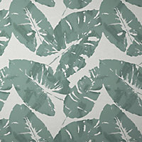 GoodHome Scolyme Green Palm Metallic effect Textured Wallpaper