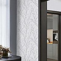 GoodHome Obetia Grey Tree Silver effect Smooth Wallpaper