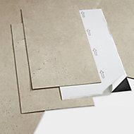 GoodHome Poprock Beige Stone effect Self adhesive Vinyl tile, 1.3m² Pack